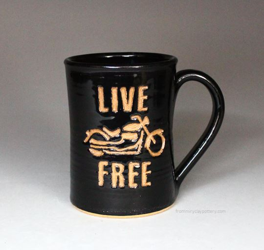Handmade Pottery Live Free Motorcycle Design Coffee Mug By