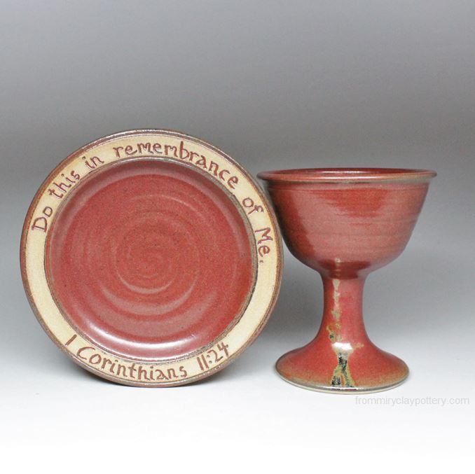 Bread Plate (7.5 ) with Scripture - #2707 & Bread Plate with Scripture Handmade Pottery by From Miry Clay Pottery