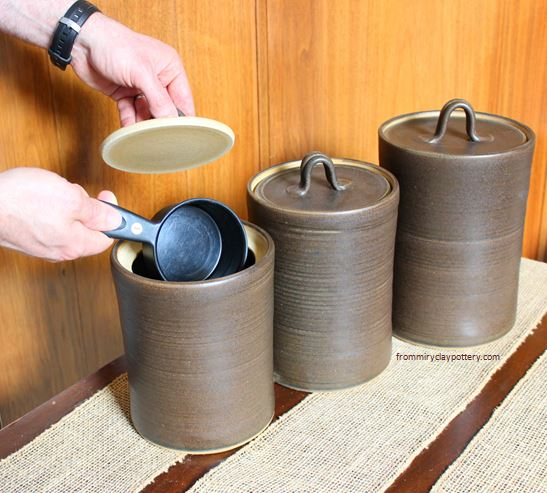 Three piece handmade pottery canister set
