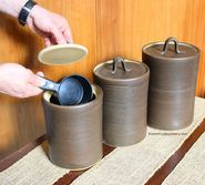 Three piece functional pottery canister set