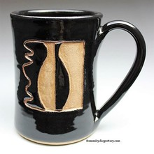 Handmade Pottery Coffee Mug with Simple Logo