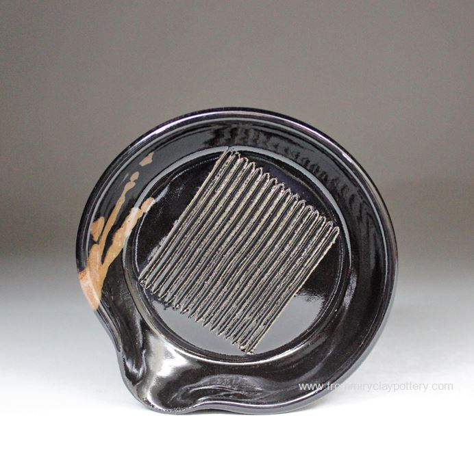 Handmade Pottery Garlic Grater in Black with Bronze glaze Color