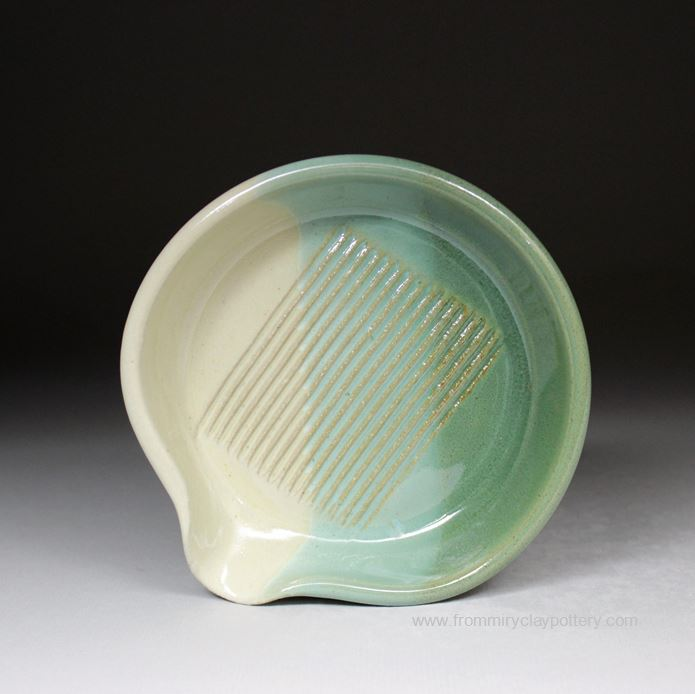 Handmade Pottery Garlic Grater in Green Beige glaze color