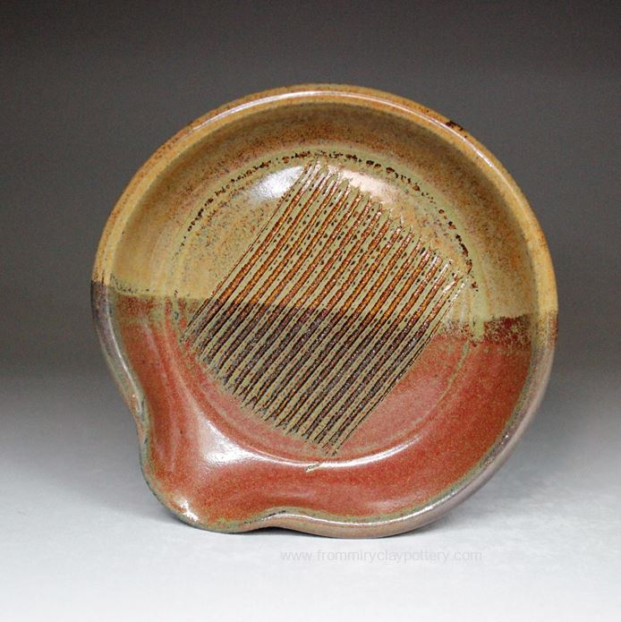 Handmade Pottery Garlic Grater in Rustic Copper glaze color