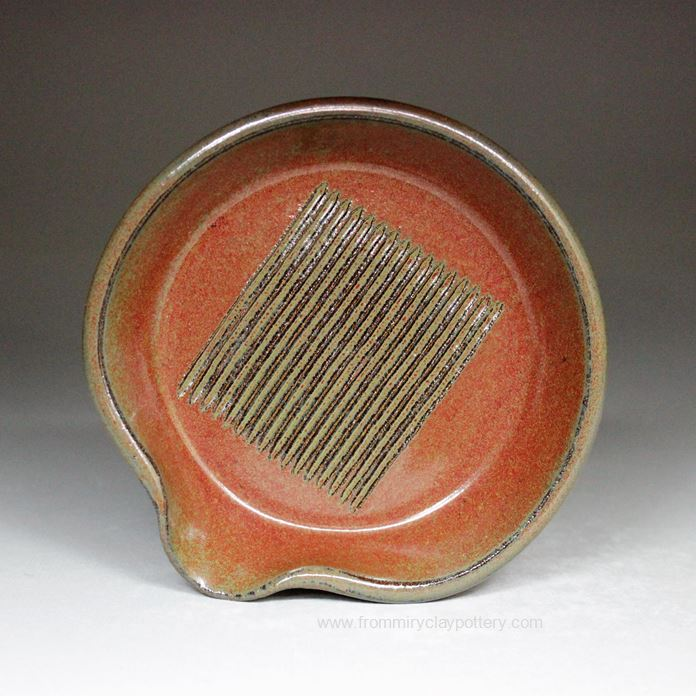 Handmade Pottery Garlic Grater in Rustic Red glaze color